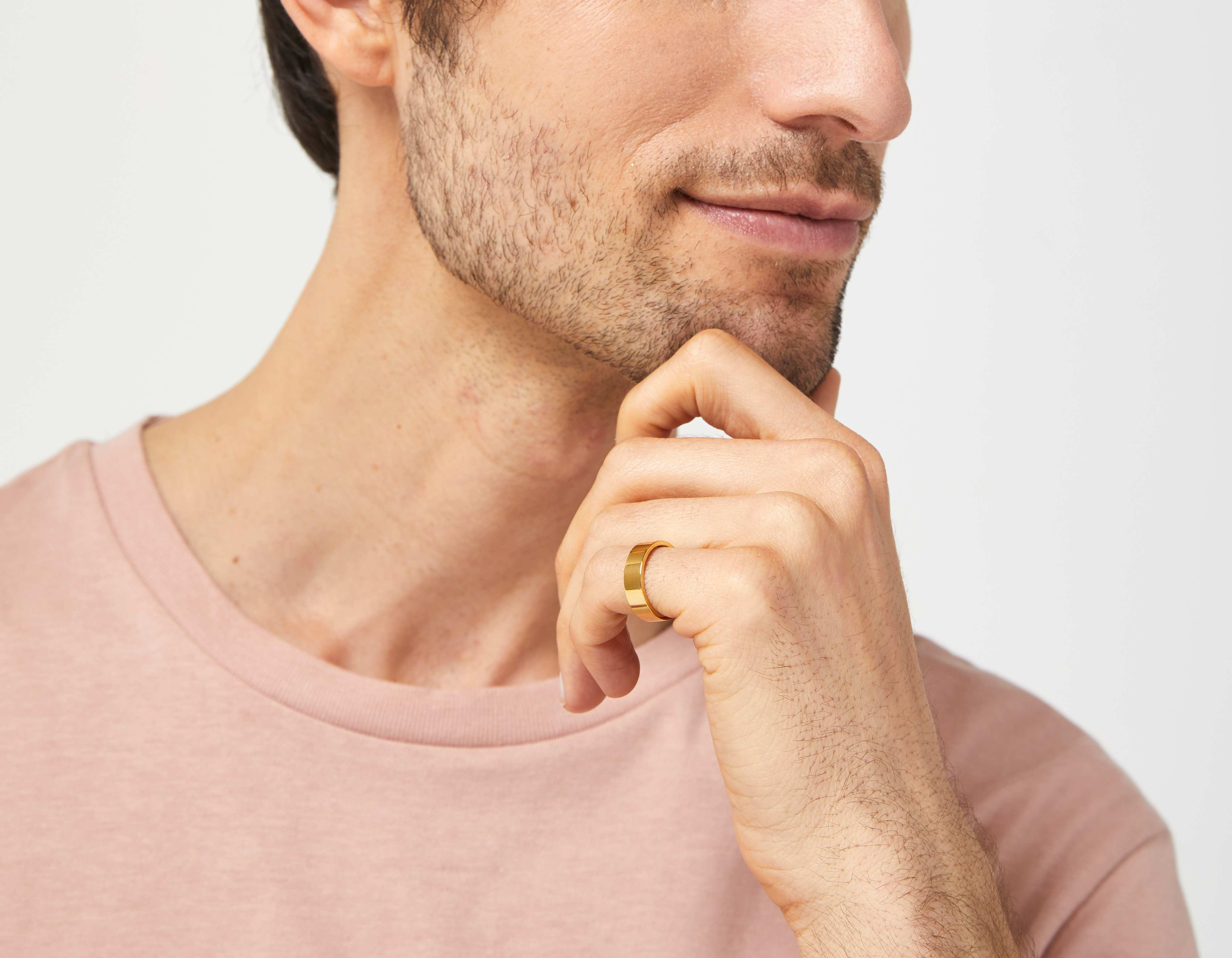 The Inner Wave Ring in 14-Karat Gold on a male