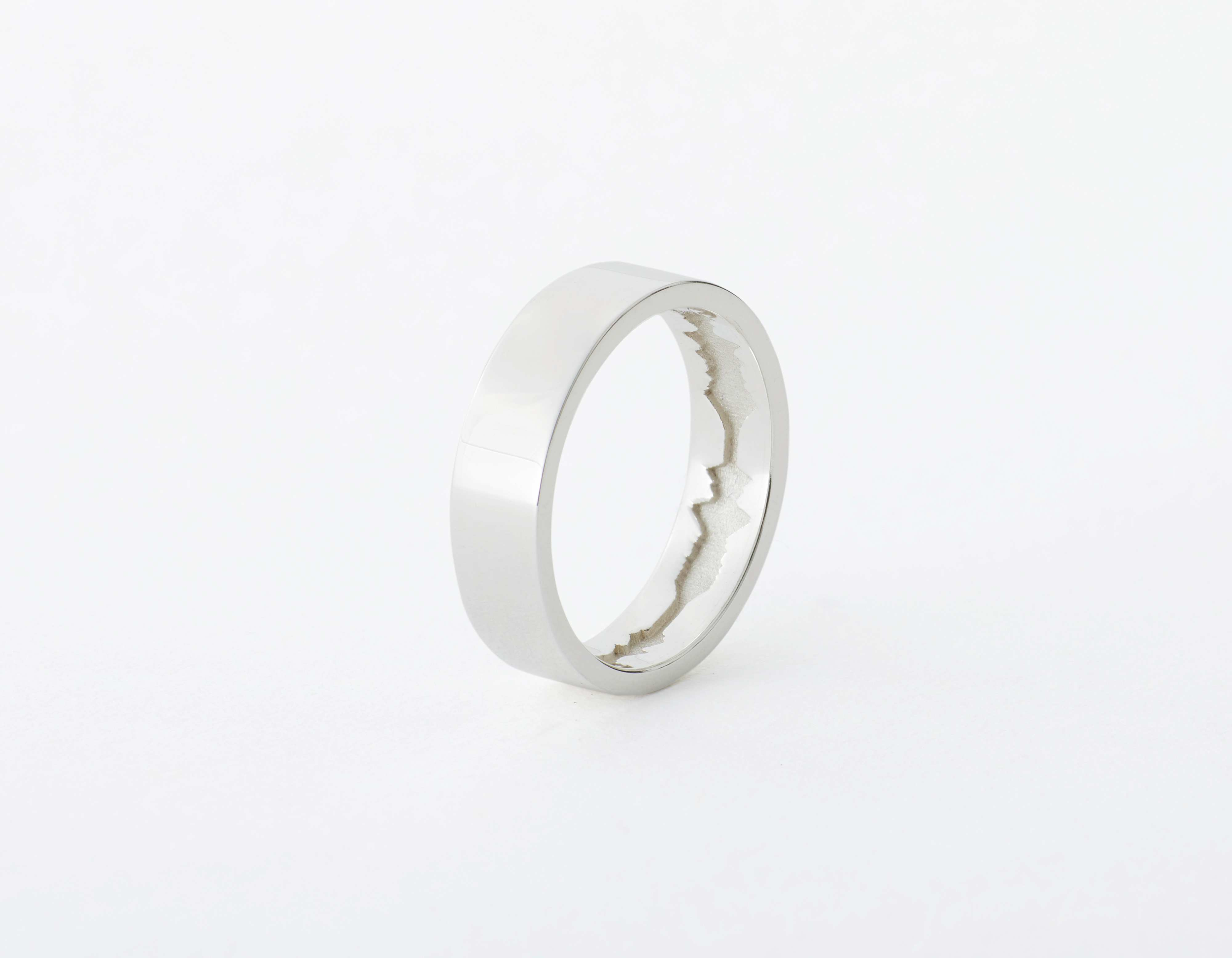 The Inner Wave Ring placed vertical in Sterling Silver thumbnail