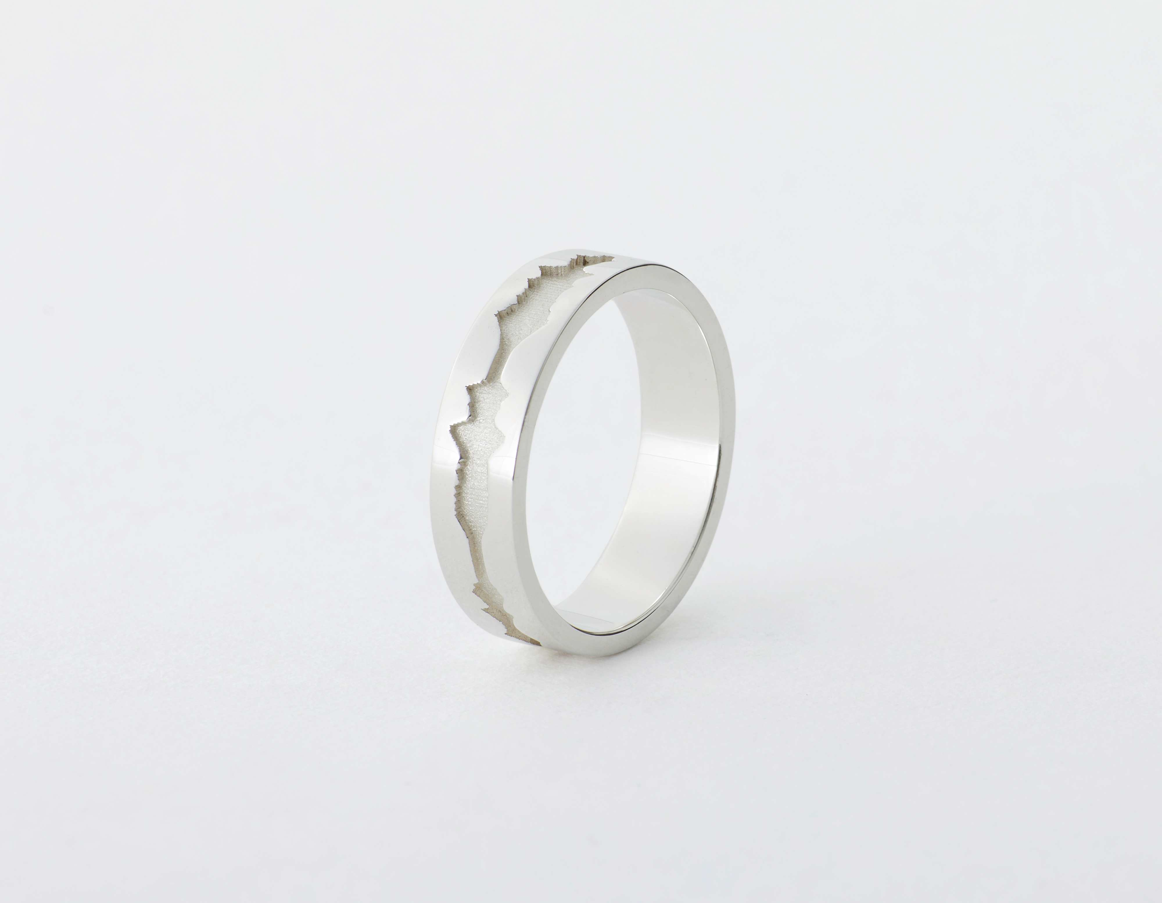 The Outer Wave Ring placed vertical in Sterling Silver thumbnail