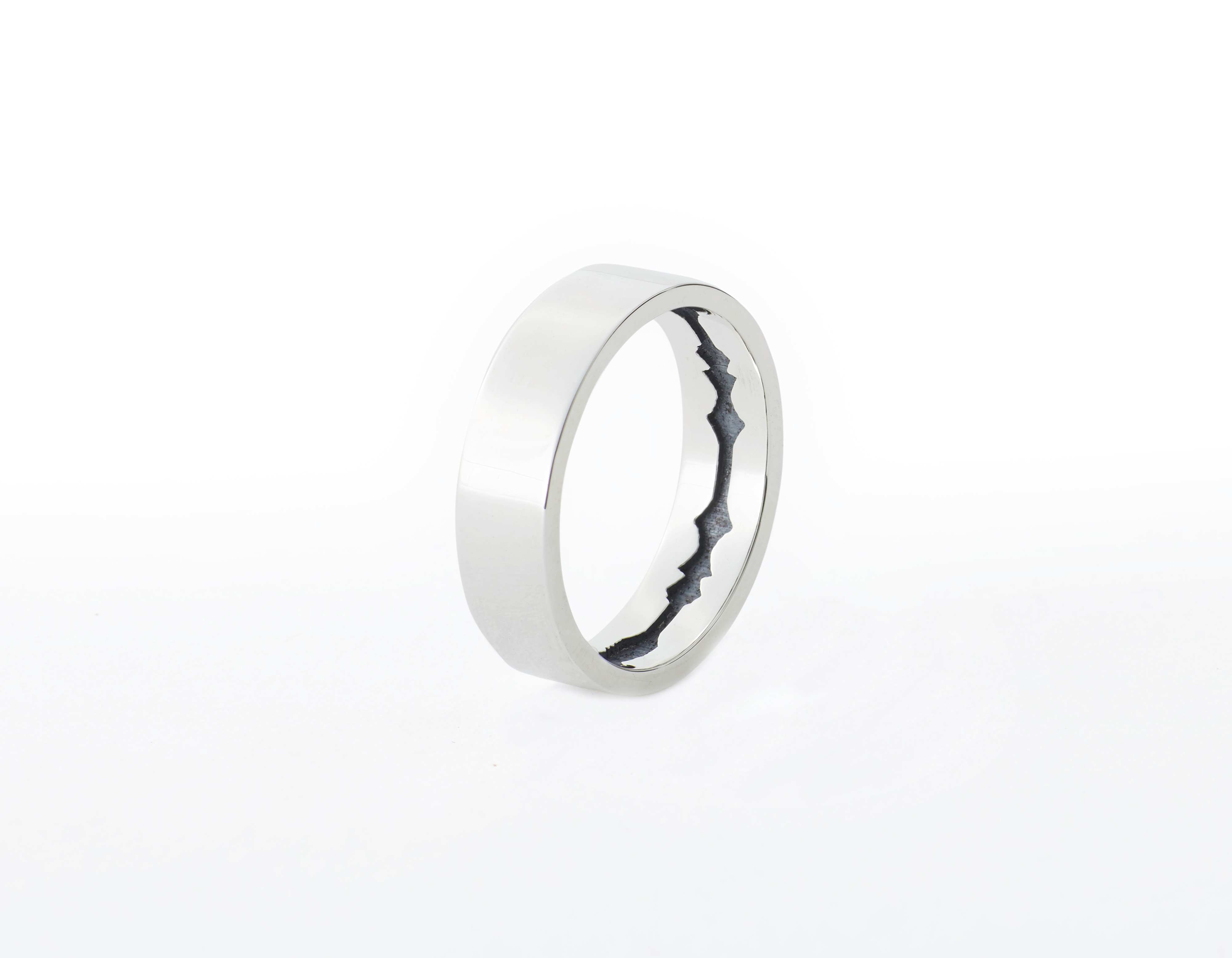 The Inner Wave Ring placed vertical in Antiqued Sterling Silver thumbnail