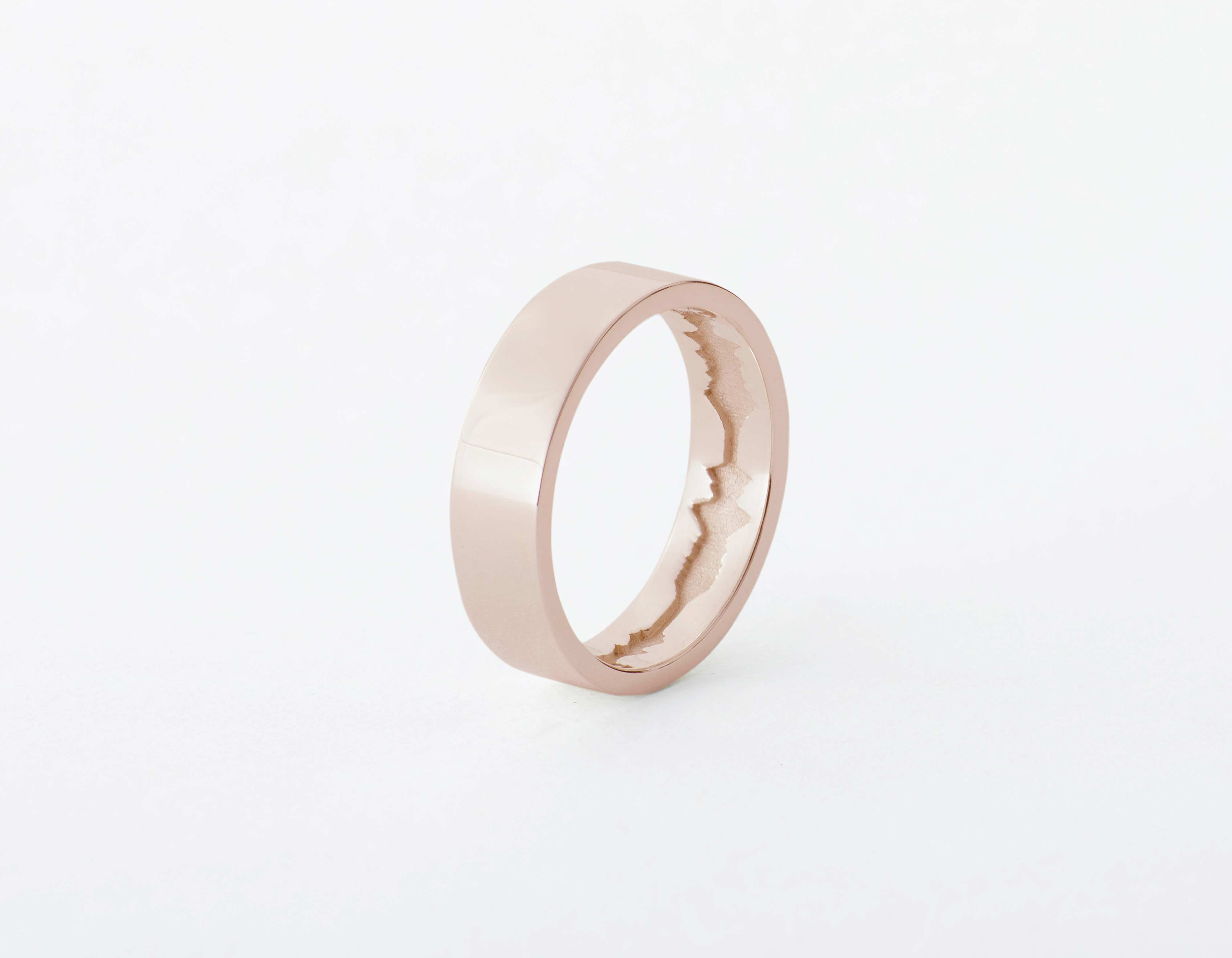 The Inner Wave Ring placed vertical in Rose Gold thumbnail