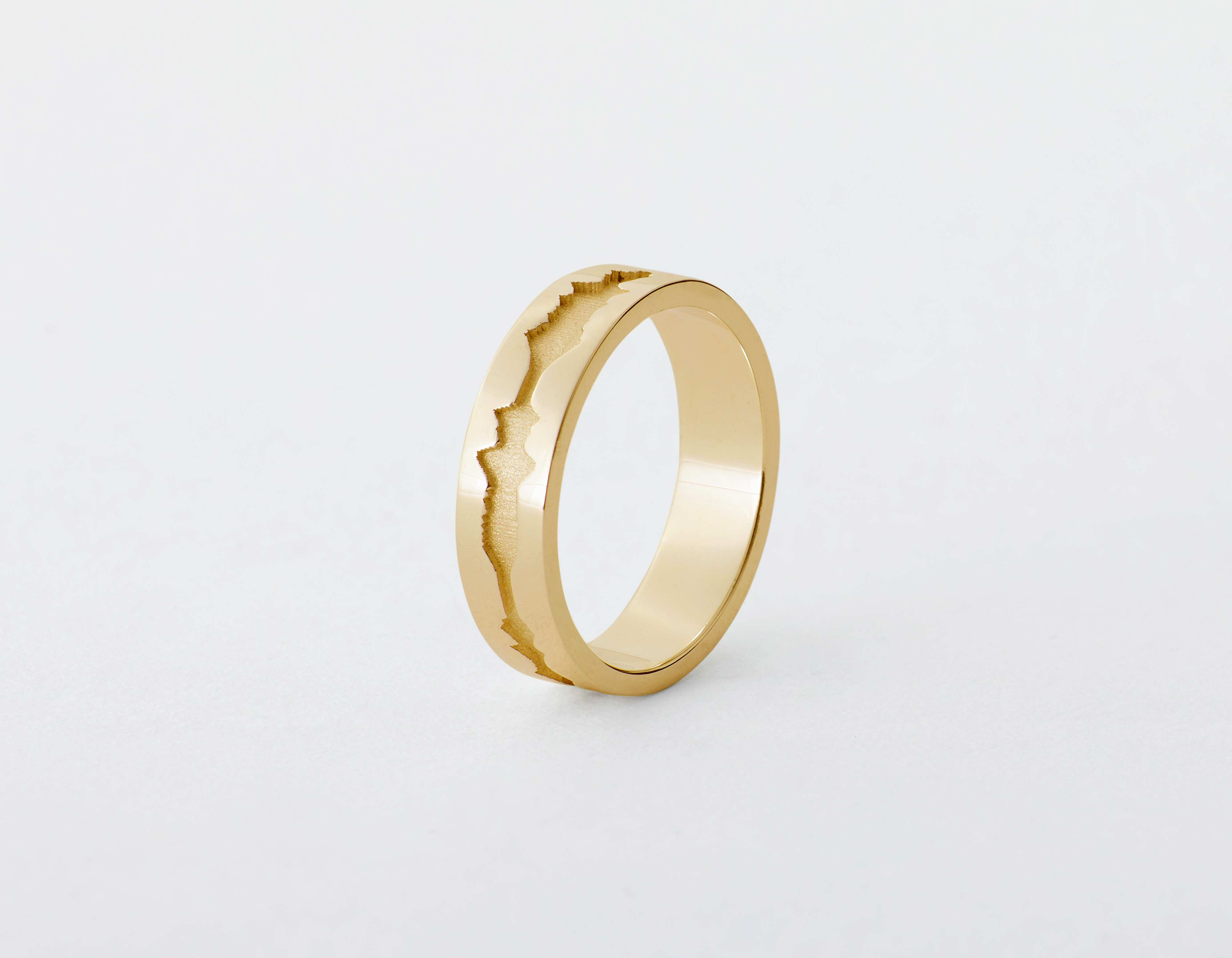 The Outer Wave Ring placed vertical in 14-Karat Gold thumbnail