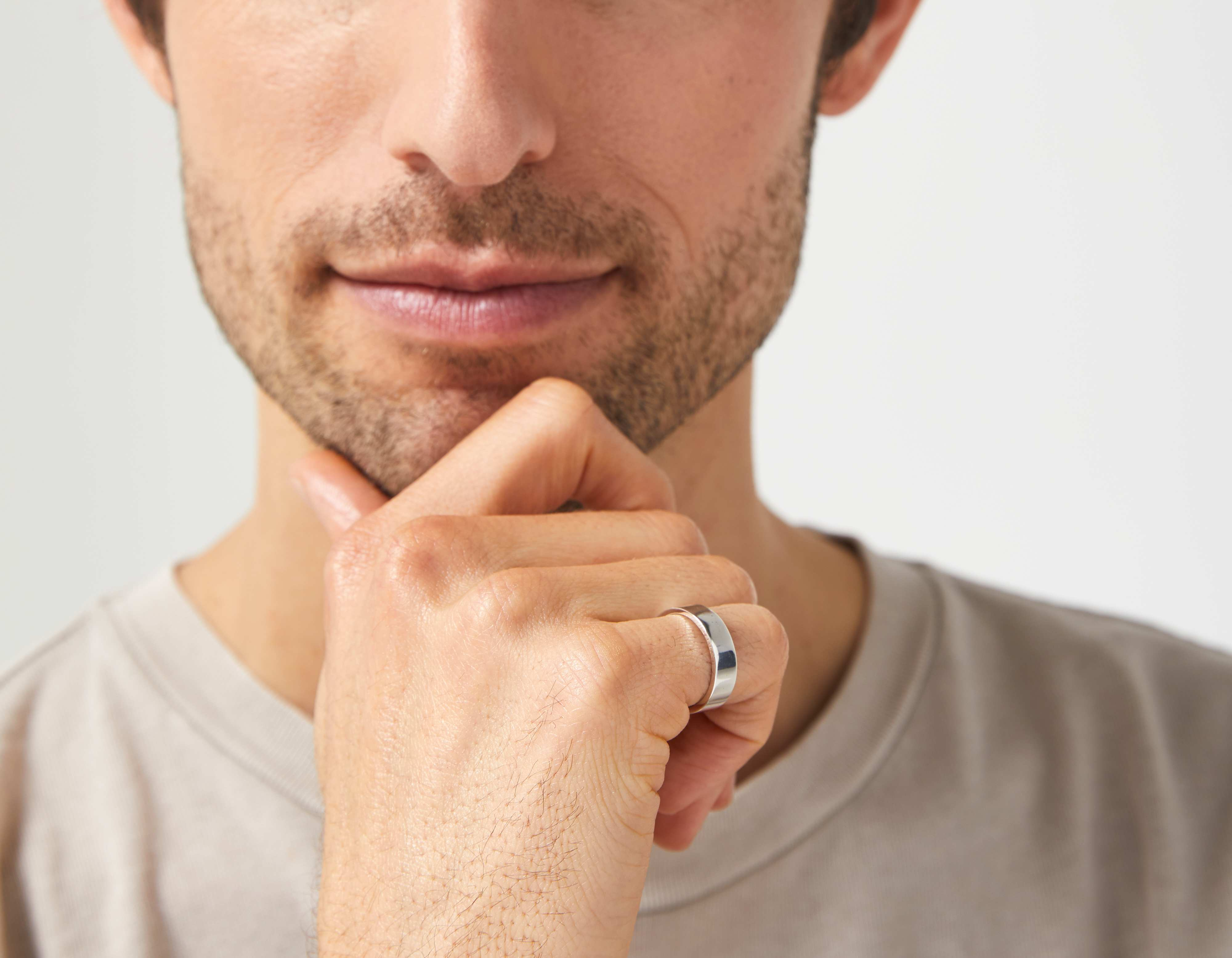 The Inner Wave Ring in Antiqued Sterling Silver on a male