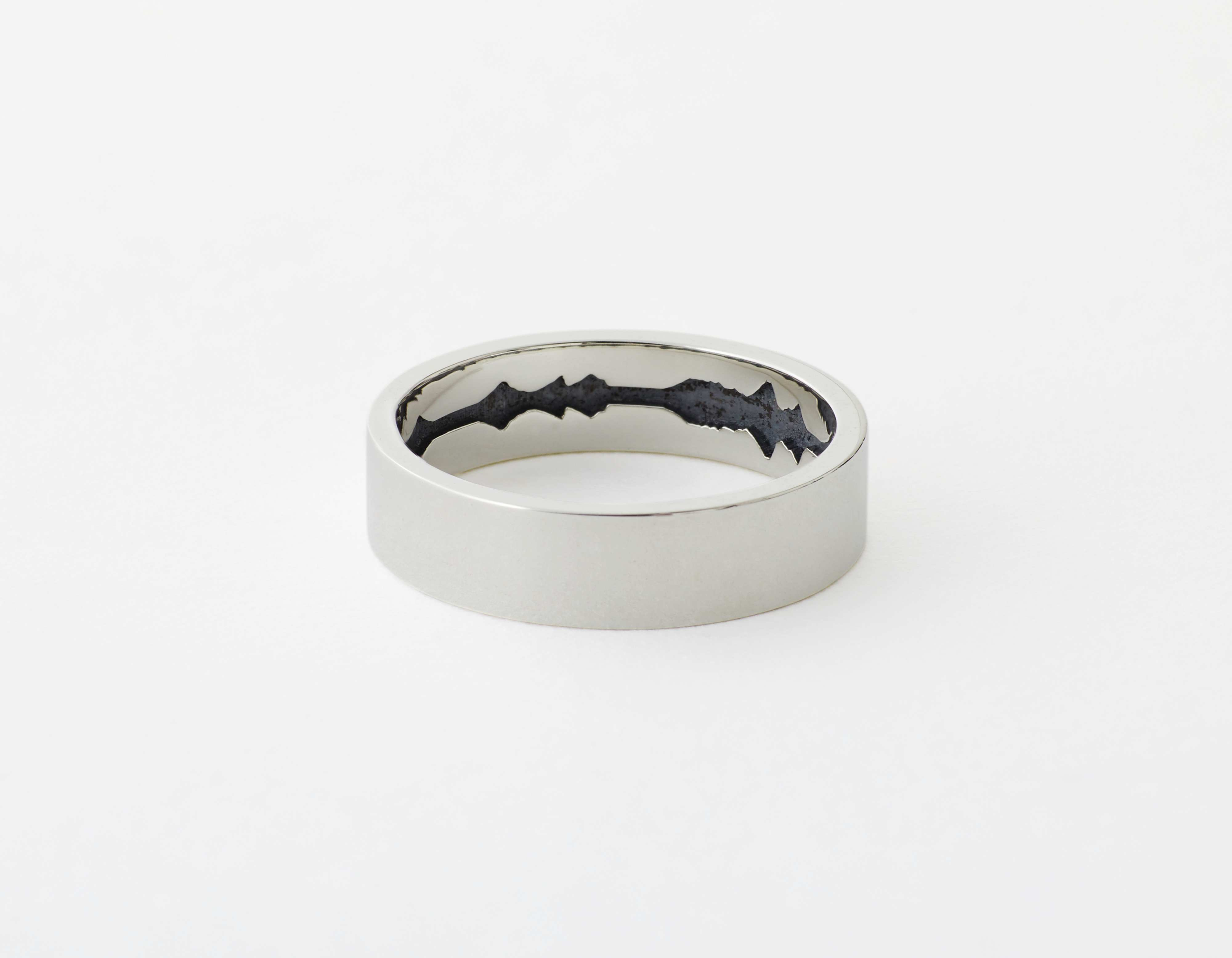 The Inner Wave Ring placed horizontal in Antiqued Sterling Silver